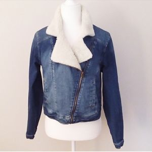 Mossino Denim Jean Jacket with Shearling Trim